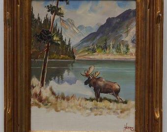 Vintage Alaskan Oil Painting by Ellen Henne Goodale (1915-1991) Moose by Lake