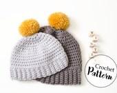 Schema uncinetto berretto bambini || PDF PATTERN || cappello uncinetto bambini || berretto con pom pom || berretto di lana per bambini