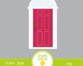 Front Door Clip Art Pink Door with Transom Window
