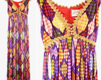 60's Perelucci Colorful Empire Waist Sleeveless Maxi Dress with Gold Trim XS