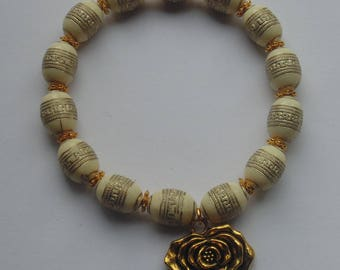 Gold Tribal Bead Stretch Bracelet