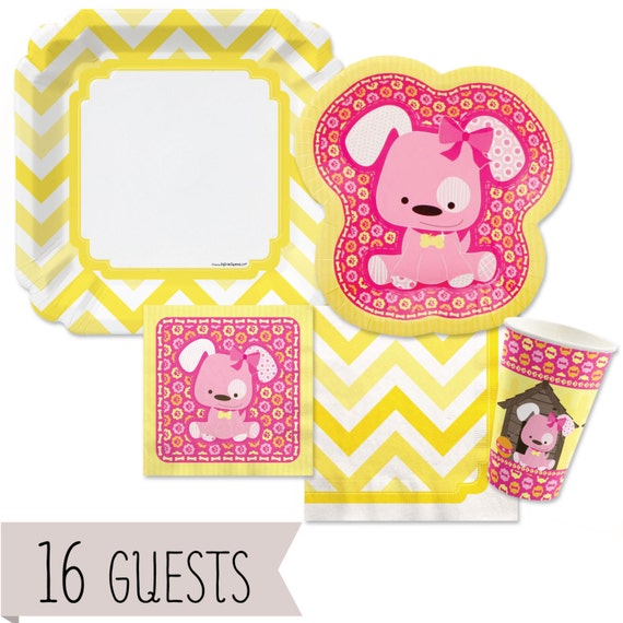 Pink Girl Puppy Tableware Kit Baby Shower Or Birthday Party
