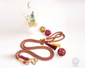 Christmas Dog Leash Red and Gold Rope dog leash with gold snaphook Festive 10mm thick rope leash Pet gift Holiday leash