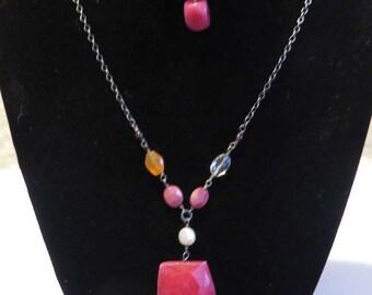 Vintage Fuchsia Chalcedony Gemstone Sterling Silver Necklace / Bracelet Set