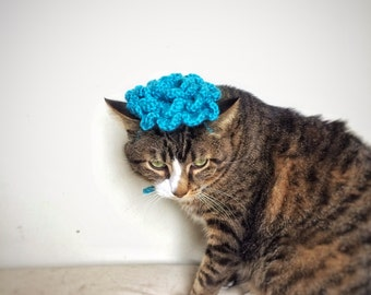 Halloween Costume Pretty Flower Crochet Hat for Cat Dog Blue Turquoise Hat Unique Handmad Pet Accessories