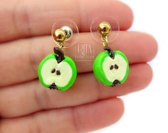 Green Apple earrings. Mini fruit in polymer clay. Food Jewelry.