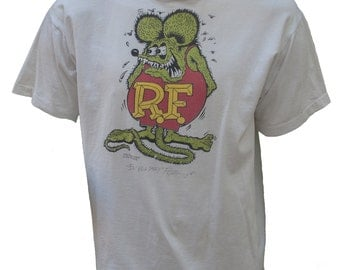 1980s XL Tee Shirt White Rat Fink Ed Big Daddy Roth T Grunge Hot Rod Car Cartoon Rock Greaser Rockabilly Retro Motorcycle Biker Mouse Weirdo