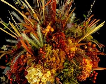 Large Tuscan Silk Flower Arrangement,Floral Table Centerpiece,Office Entry  Arrangement,All Season