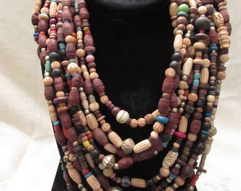 Tribal Beaded Necklace, Tribal Statement Choker-Multi Strand Beaded Necklace!