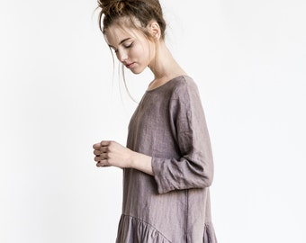 Linen dress with sleeves and DROP SIDES / Washed and soft linen dress in caffe mocha/purple
