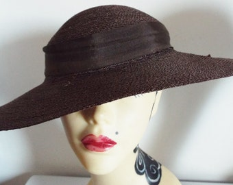 Vintage Ladies Hat RARE 1930's Original Brown Straw Wide Brimmed Day Hat ....With ribbon banding...Rare to find in this condition