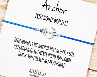"""Silver or Gold Anchor Friendship Bracelet with """"Thank You For Being My Anchor"""" Card 