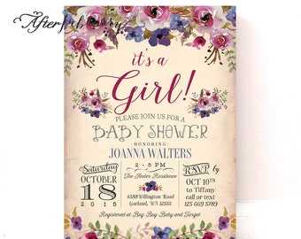 Floral Baby Shower Invitation Plum Purple Floral Bridal Shower Invite Fall Baby Shower Invite // Printable OR Printed No.903BABY