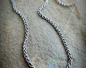 "Men's Snake Necklace, 24"" Twisted Chain Necklace, Men's Sterling Chain Necklace, Antiqued Sterling 24"" Chain, Mens Silver Chain Necklace"