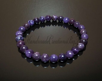 Lepidolite Bracelet, Purple Gemstone (Peace Stone) Wrist Mala, Prayer, Meditation, Yoga Jewelry