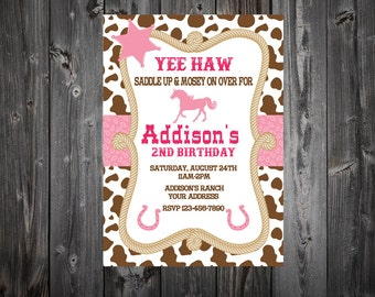 Cow Girl Birthday Party Invitation