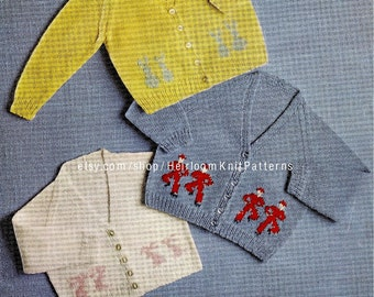 Baby Child Boys Girls Motif Cardigans Knitting Pattern Vintage DK 4ply 3ply Knitted Raglan Cardigan Pattern Instant download PDF - 2021
