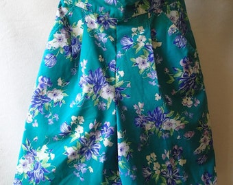 Vintage Laura Ashley shorts; 80s high waisted floral shorts; preppy cotton pleated shorts; vintage designer shorts; size s xs; teal green