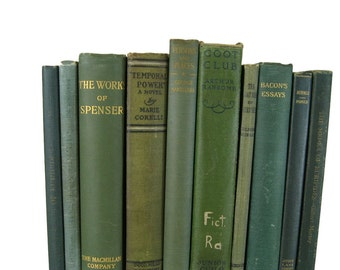Green  Vintage  Books for Decoratiing,  Antique Decorative Books , Wedding Prop , Photo Prop , Green Vintage Books , Old Books
