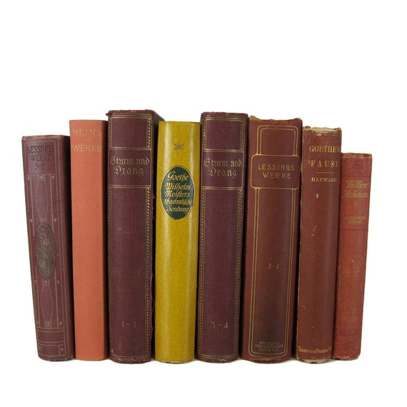 Brown Dark Red Book Set Old Books Books for Decorating