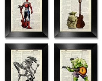 ROCK and Roll Art, Teenager Gift, TEEN Mens GIFT, Teen Boy Gift, Rock and Roll Gift, Teenage Boy Gift, Teen Room Decor Bass Guitar Print Set