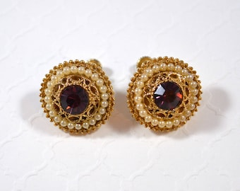Vintage Purple Faux Pearl Round Screw Back Earrings Fancy Goldtone Filigree Accents Stunning Earrings Purple Rhinestone Earrings