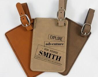 Leatherette Luggage Tag - Groomsmen gift - Bridesmaids gift - Getaway gift idea - Bag Tag - Wedding Gift - Honeymoon - Bon Voyage - Travel