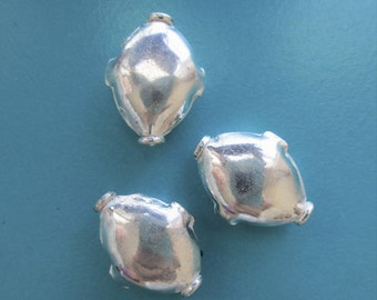Sterling Focal Bead, SS Puff Focal, SS Freeform Focal, Silver Focal Bead, 18x13mm, lot of 3