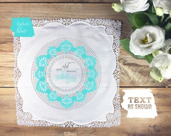 Something new and blue wedding handkerchief, something blue wedding handkerchief, blue bridal handkerchief, something blue bride, bride gift