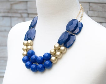 Blue Chunky Necklace - Statement Necklace - Cobalt Blue & Navy Bead Necklace - Bold Large Necklace - Gift Wrapped Jewelry -