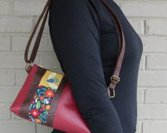 Small Red Crossbody Bag - Bee Crossbody Bag - Red Vegan Leather Bag