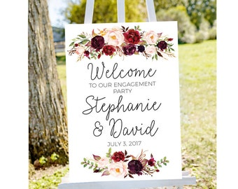 Engagement party welcome sign, welcome to our engagement, burgundy welcome sign, engagement welcome sign burgundy engagement fall engagement