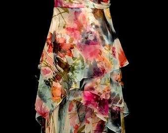 One Shoulder Chiffon Floral gown                VG310