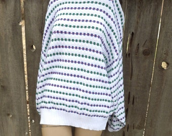 Vintage Men's Woman's 80's Slouch Oversized Sweater Pendleton Knit White Squares Checkered XL