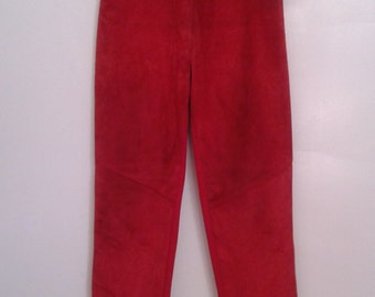 Vintage 1990's Red Ribbed Spandex Suede Panel Leggings Riding Pants Sz Small Minimalist
