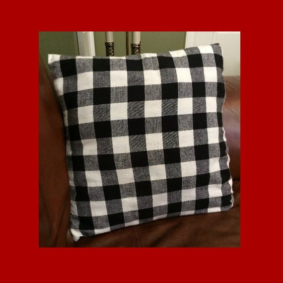 Black Plaid Throw Pillow : Plaid Throw Pillow Black White Check Throw by BuddyJacksDawgHouse
