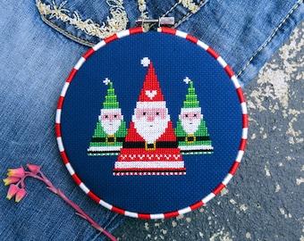 Santa Cross Stitch Pattern PDF Christmas – Christmas Patterns – Modern Cross Stitch – Xmas Decorations – DIY Gift – German Folk Art