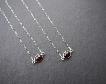 Tiny Garnet necklace // Red Garnet stone necklace