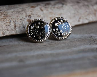 Black and Silver Toned Floral Pattern Stud Earrings