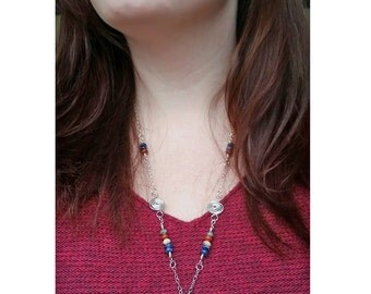 SALE Maine Beach Stone, Gemstone & Sterling Silver Swirl Pendant / Red Jasper, Sodalite, Pyrite, Amazonite, Aventurine Necklace Gift for Her