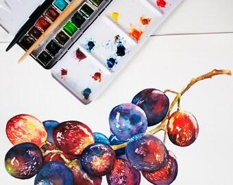 Cosmic Grapes, ORIGINAL Watercolor Painting