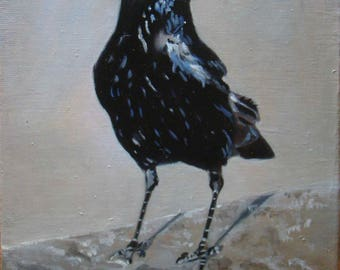 The raven, Original Oil Painting by Anne Zamo