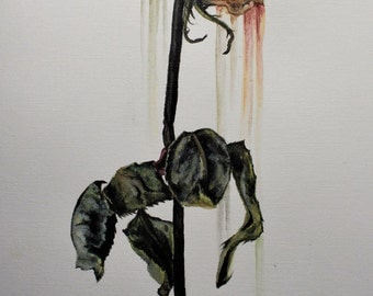 Original acrylic painting - withered rose (yellow)