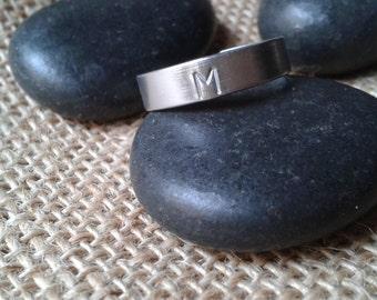 Custom initial ring ring ring aluminium, hypoallergenic