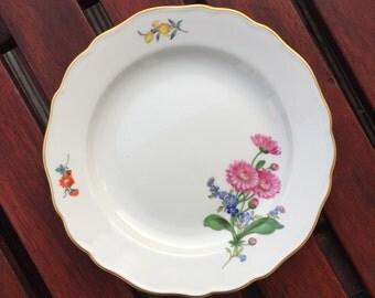 Meissen Floral Design Plate, Crossed Swords, 2nd choice, Handpainted
