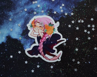 Virgo zodiac sign sticker. Cute, space, galaxy character. Vinyl sticker.