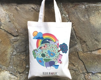 SALE!- Mini Cute Believe in Magic Kawaii Unicorns Kids Girls Tote Bag