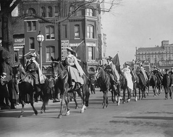 Suffragettes Protest on Horseback Photo, DC, Women's March, Resist, Equal Pay, Voting Rights, Equal Rights, American History, Wall Art Decor