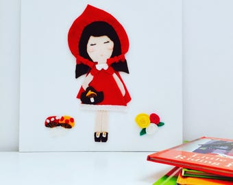 Girls Room Picture - Little Red Riding Hood Fairytale Birthday Unique Girl Gift - Embroidered Wool Felt Wall Art Canvas Panel - Little Red