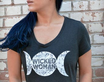 Wicked Woman Triple Moon Tshirt. Heathered Charcoal Vneck womens fit tee. Witchy Woman / Feminst Tshirt